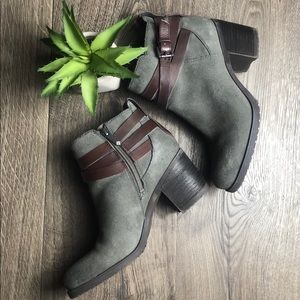 Sam Edelman Gray Hannah Belted Leather Suede Boot